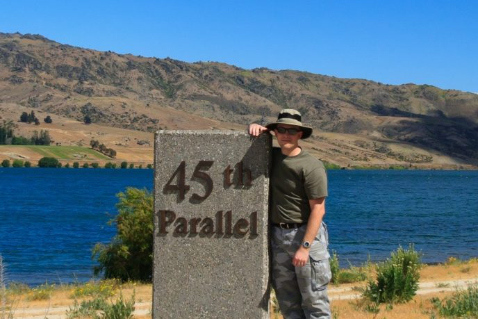 Jamie at the 45th Parallel (South) - New Zealand