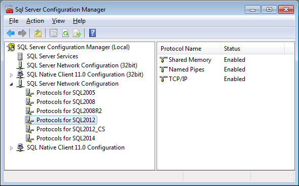 Available Protocols for connecting to a SQL Server instance