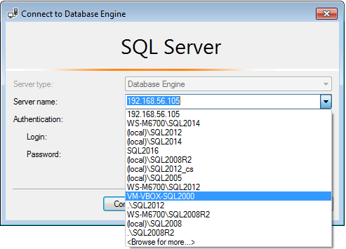 SSMS connection dialog with server to remove