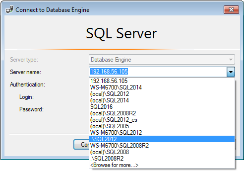 SSMS connection dialog with server removed